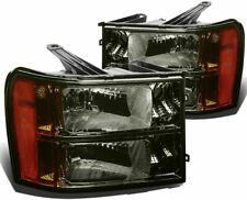 For 2007-2013 GMC Sierra 1500/2500/3500 HD HeadLights Pair LH+RH Smoked Amber