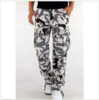 Men's Casual Military White Camouflage Camo Cargo Combat Work Pants Trousers