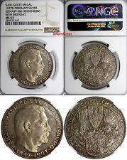 Germany Silver KARL GOETZ Medal 1927D Hindenburg 80Birthday NGC MS63 Kienast-386