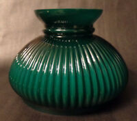 "New 7"" Cased Green Over Opal Ribbed Oil Student Table Glass Lamp Shade #7S647"