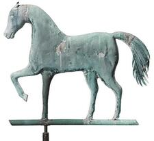 MOLDED COPPER AND CAST ZINC PRANCING HORSE WEATHERVANE, A.L. JEWELL & CO., WA...