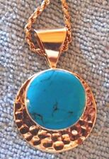 "Hammered Sterling Silver Round Turquoise Pendant 28"" Ss Rope Chain"