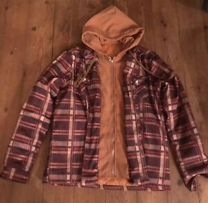 Padded Check Shirt With Stitched In Zipped Hoodie (Worn Once)