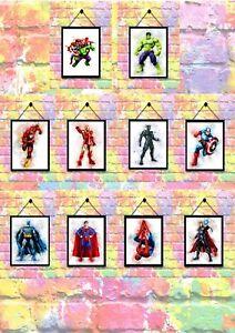 BUY 2 GET 1 FREE Marvel Superhero Watercolour Print Poster Wall Art A4