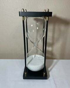 """12"""" Tall Contemporary Sand Timer Home Decor Hour Glass 1 hr Black Brass Fittings"""