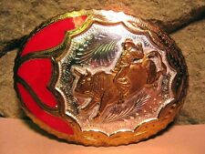 Large Vintage Hand Made Deep Engraving Cowboy Bull Rider BELT BUCKLE