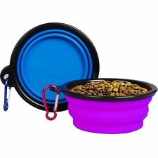 2 Portable Travel Collapsible Foldable Pet Dog Bowl for Food & Water Bowls Dish