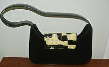 LANCEL ITALY BLACK LEATHER FAUX SNAKE SKIN DECOR  HANDBAG_PURSE