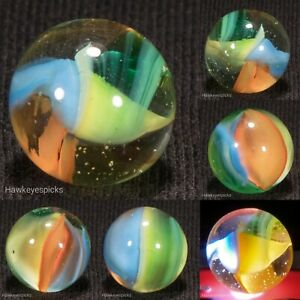 Marble King Experimental Green Jelly Cat's Eye Marble 5/8 Mint- hawkeyespicks sg