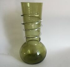 Olive Green Art Glass Vase With Applied Clear Spiral Embellishment 8""