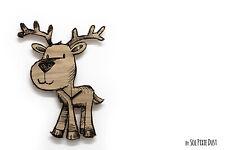 Little Cute Reindeer Engraved Wood - Kids Nursery Room, Baby Room - Wall Clock