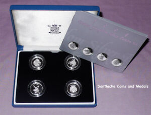 2004 ROYAL MINT SILVER PROOF HERALDIC BEASTS PATTERN £1 COIN SET CASED