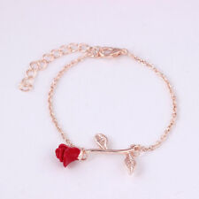 Charming Beauty and the Beast Flower Rose Bracelet Bangle Chain Jewelry