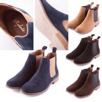 Ladies Chelsea Suede Ankle Boot Rydale Kirby Flat Boot Shoe Navy Tan Black Brown