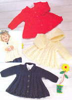 """Chunky Swing Baby Coat  Collar/Hood Cables & Bobbles 18"""" - 28"""" Knitting Pattern"""