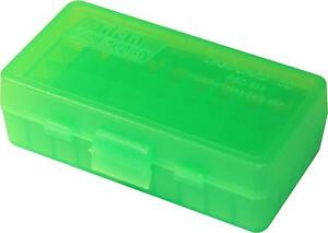 9mm / 380 Ammo Box Clear Green 50 Round (Quantity 1) Buy 5 Get 1 Free (MTM)