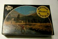 VINTAGE TUCO MINIATURE ROUND PICTURE PUZZLE MOUNTAIN STREAM . IN BOX!!