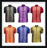 Men's Traditional Thai Silk Shirt Mandarin Collar Short Sleeve 12 Colors