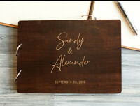 Personalized Rustic Wedding Guestbook Custom Wood Guest Book Engagement Wedding