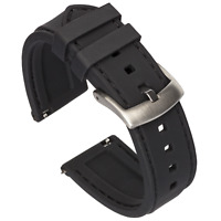 Quick Release Silicone Watch Band - Black / Black Stitching - 18, 20, 22 or 24mm