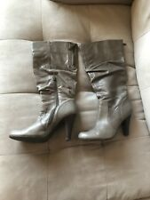 Women's Beige Taupe Brown Slouchy Mid-Calf Boots Heels Round Toe Size 7.5 Medium