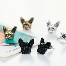 1 Pair Gold/Silver/Black Cute Bulldog Ear Stud Stylish Retro Women Earrings