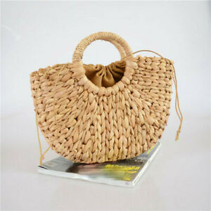 Summer Beach Straw Woven Rattan Basket Bag Retro Wicker Handbag Women Totes