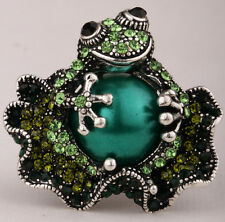 Frog stretch ring animal bling scarf jewelry gifts 11 dropshipping silver green