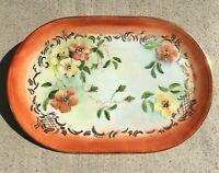 Handpainted Orange Floral Ceramic Trinket Vanity Dresser Tray Signed Martha 1985