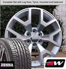 "20"" Wheels and Tires for Chevy Silverado 1500 Replica 5656 Silver Machined Rims"
