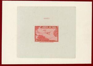 Liberia 1944 #C44, Sunken Die Proof,  Plane & Air Route Map, ABNC