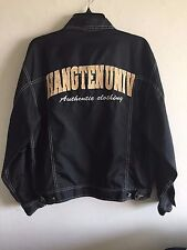HANG TEN KOREA Jacket Nylon Hang Ten Univ. Black Embroidered Men's 95 NWOT