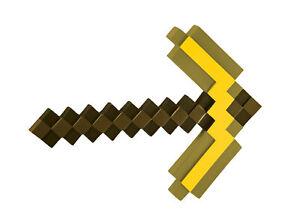 Minecraft Gold Pick Axe Pickaxe Costume Accessory NEW