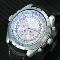 Automatik Multifunktion Herren Uhr Weiss Silber Farben Leder Armband Uhren