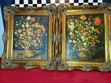 Vintage 2 Ornate Framed Canvas Still Life Oil Paintings J Brueghel Reproductions