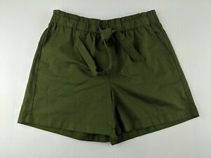 NEW J Crew Pull On Paperbag Shorts Sz 8 Olive Green Elastic Waist Front Tie Belt