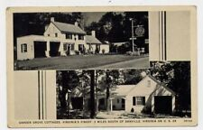 1945 DANVILLE VA GULF Gas Station Garden Grove Cottages postcard