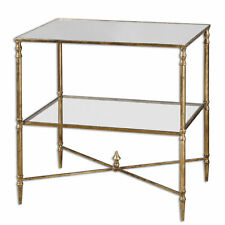 Contemporary Barstow End Table Glass Iron Minimalist | Lamp Accent Classic Gold