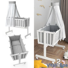 Wiege  Schaukelwiege Babywiege Holz Weiß Grau Bett Set Noah Buche  VitaliSpa