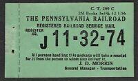 1956 Pennsylvania Railroad Registered Mail - MNH - J. D. Morris Manager
