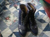 Justin Women's Western Boots Kiltie Tassel Purple Leather Size 6 D