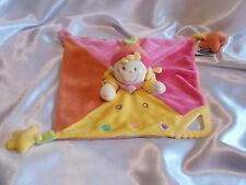 Doudou lutin, clown, jaune, orange, rose, anneau de dentition, Mots d'enfants