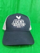 Lucky Rooster Whiskey Hat Hand Made Sour Mash Snapback Black Trucker Mesh Cap