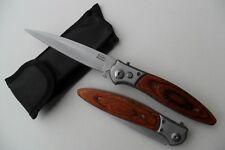 Couteau Pliant de Poche Lame Acier Fine 10 cm Manche Bois 12,5 cm Chasse Peche