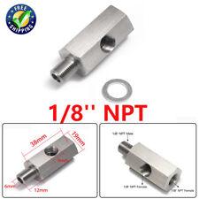 Stainless 1/8''NPT Oil Pressure Sensor Tee Adapter Turbo Supply Feed Line Gauge