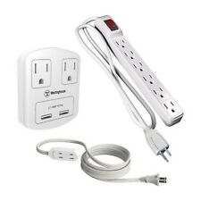 Westinghouse 3 Piece Outlet 2.1 USB Rapid Charger Power Center Value Pack White