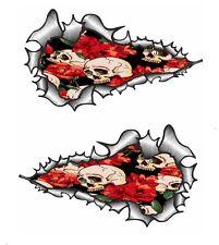 LRG LUNGO Handed Pr Metallo Lacerato Stile Tatuaggio Teschio & Rose Rosse