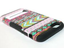 For iPhone 6 / 6S - HARD&SOFT RUBBER HYBRID ARMOR CASE COVER PINK AZTEC TRIBAL