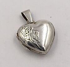 Repousse Heart Locket Vintage Sterling Silver Pendant