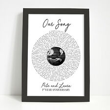 PERSONALISED Lyrics Song Birthday Anniversary Gift for Her Him Record Vinyl